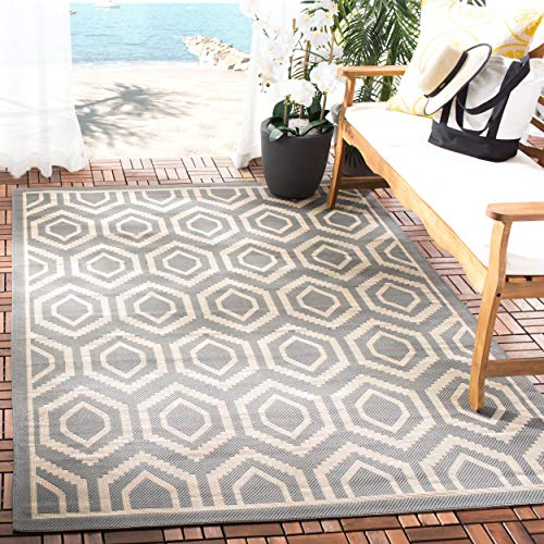 Safavieh Courtyard Collection CY6902-246 Anthracite and Beige Indoor/ Outdoor Area Rug (4' x 5'7