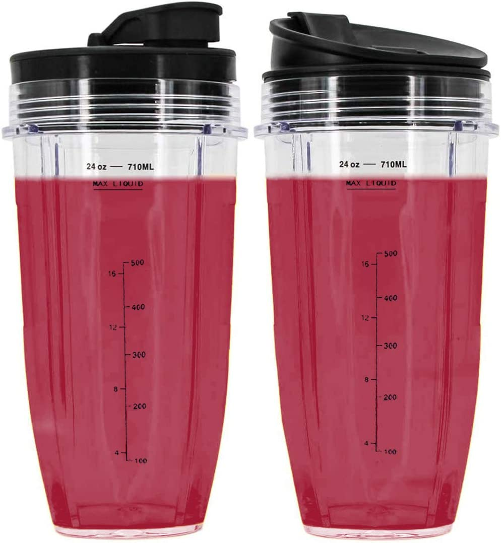 24 oz Cups for Nutri Ninja Pro Replacement Cups with Sip & Seal Lid, Compatible with BL450 BL454 BL456, BL480, BL490, BL640, BL642, BL680 BL687 for Nutri Ninja Auto IQ Series Blenders (Pack of 2)
