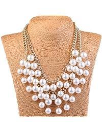 Winson Resin White Faux Pearl Multi Strand Layer Chain Evening Necklace Women