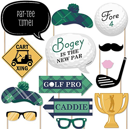 (Big Dot of Happiness Par-Tee Time - Golf - Photo Booth Props Kit - 20)