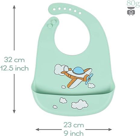 Babero impermeable de silicona para beb/és para beb/és y ni/ños peque/ños con recogedor de alimentos Conjuntos de flores