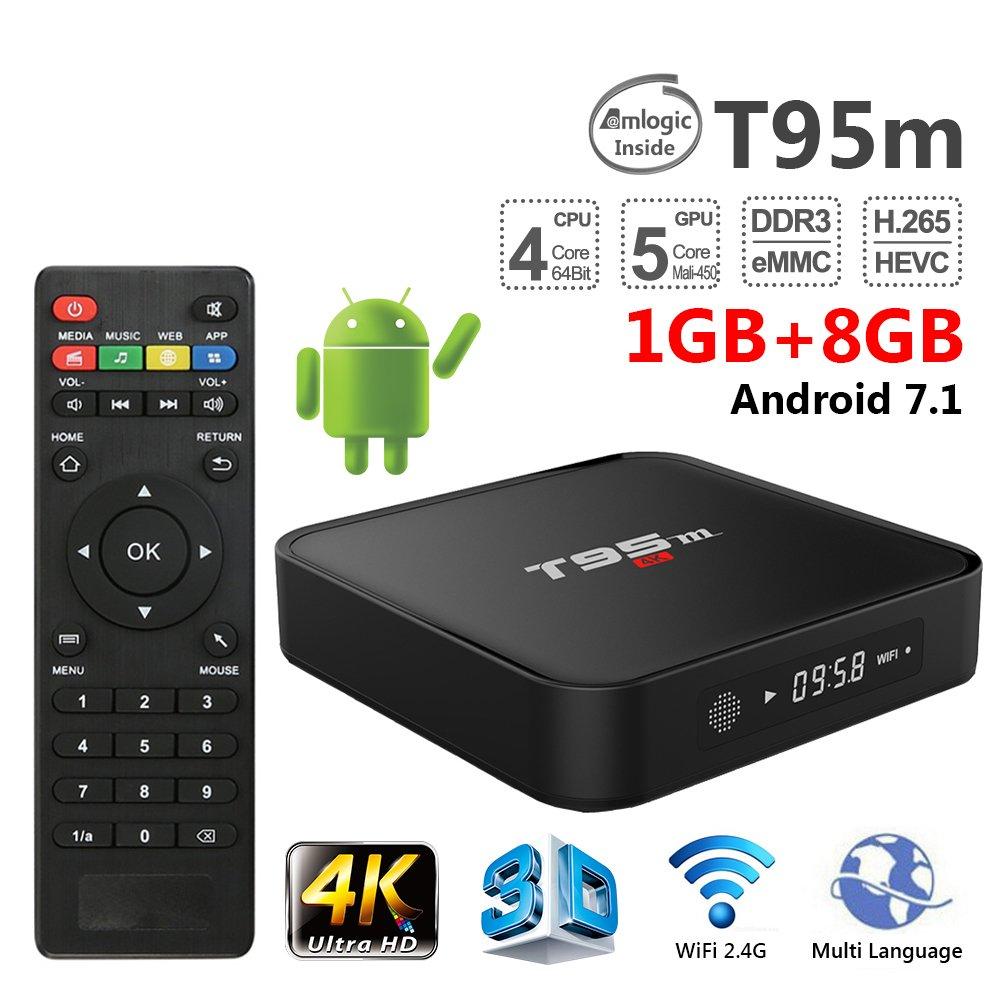 ESHOWEE T95M TV Box Android 7.1 Amlogic S905X Quad Core 64Bit 1GB 8GB 2.4GHz WiFi Support 4K HD
