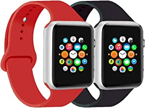 CoJerk Compatible for Apple Watch Band 38mm 40mm 42mm 44mm,Replacement Band for iWatch Series 5/4/3/2/1 (Black+Red, 38mm/40mm-sm)