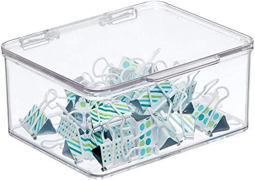 Office Supplies Storage Organizer Box with Hinged Lid Dry Erase Markers Gel Pens Clear mDesign Plastic Stackable Home Staples Pack of 4 for Note Pads 6 Inches Wide Includes 32 Labels Tape