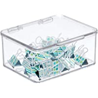 mDesign Small Mini Plastic Stackable Home, Office Supplies Storage Organizer Box with Attached Hinged Lid - Holder Bin…
