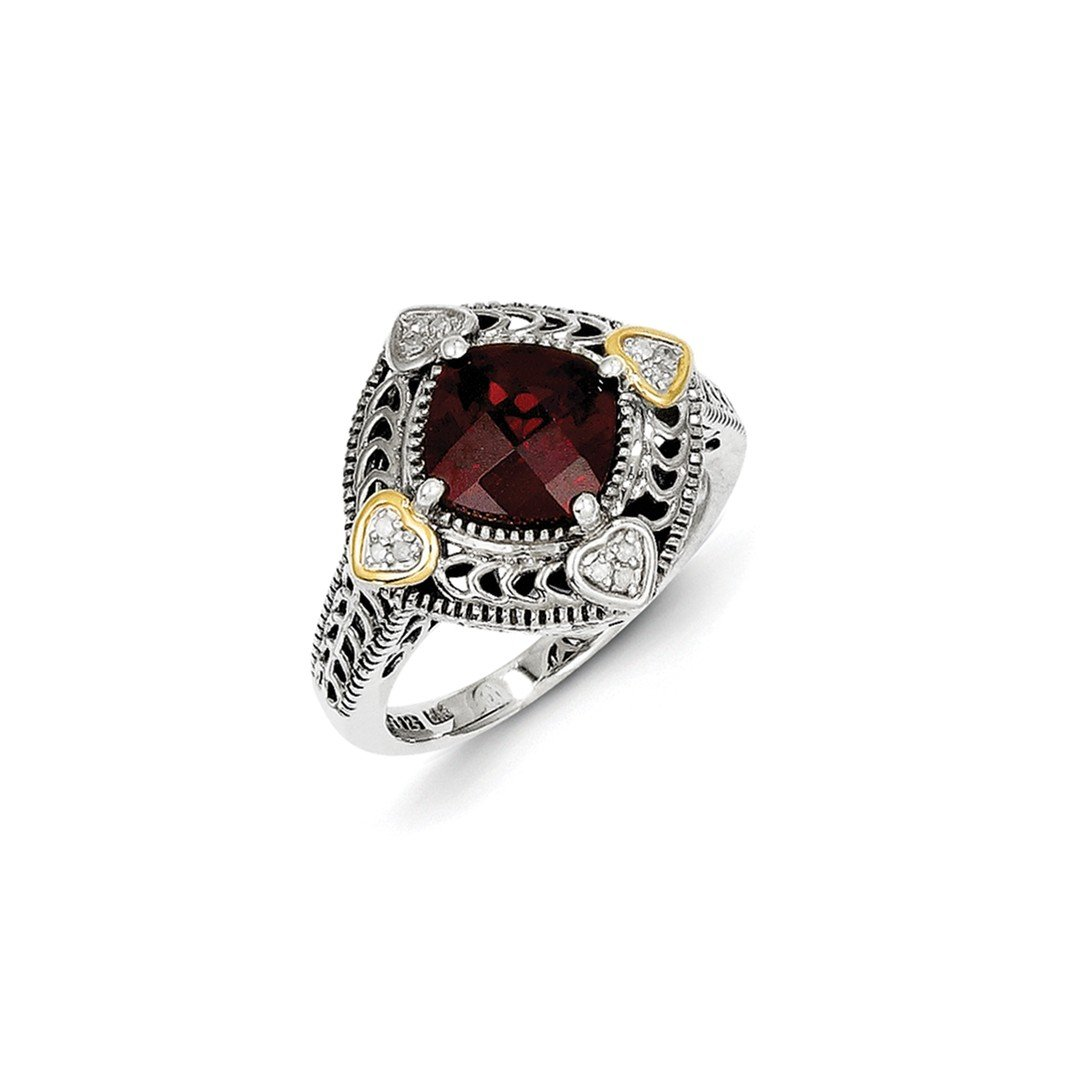 ICE CARATS 925 Sterling Silver 14k Diamond Red Garnet Band Ring Size 6.00 Stone Gemstone Fine Jewelry Gift Set For Women Heart