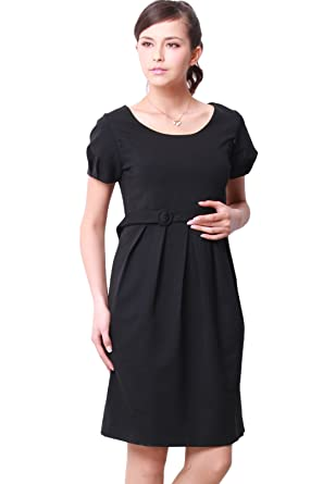 Sweet Mommy Tuck And Pleats Formal Nursing And Maternity Dress Black