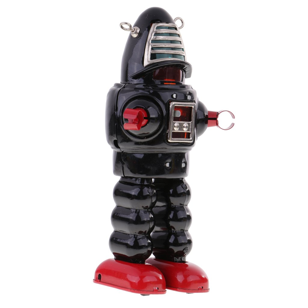 MagiDeal Retro Wind Up Black Metal Walking Planet Robot Clockwork Mechanical Tin Toys