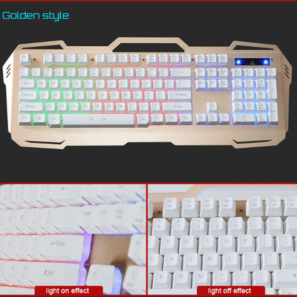 3 Colors Silver//Gold//Black LS Keyboard -Metal Ergonomic Keyboard Game Player Keyboard for PC Computer Color : Gold