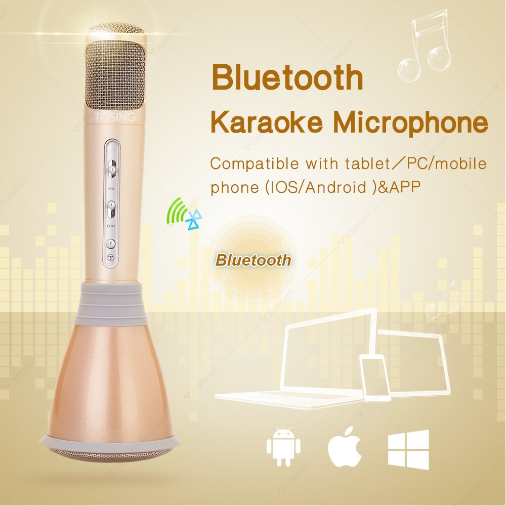 TOSING K068 Wireless Karaoke Machine Microphones Bluetooth Speaker Portable KTV Player Music Playing and Singing Machine System for iPhone/Android Smartphone/Tablet Christmas gift(gold)