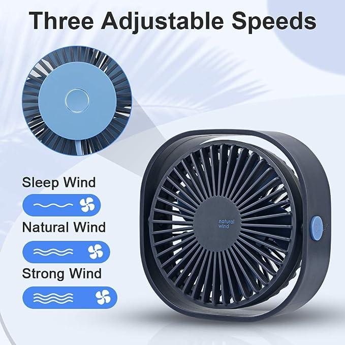 opamoo Ventilateur USB, Mini Ventilateur de Bureau Ventilateur Portable 3 Vitesses 360° Réglable Silencieux Ventilateur pour Camping, Bureau, Sport,