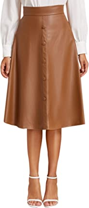 Floerns Women's Faux Leather Mid Waist Button Front A Line Midi Skirt