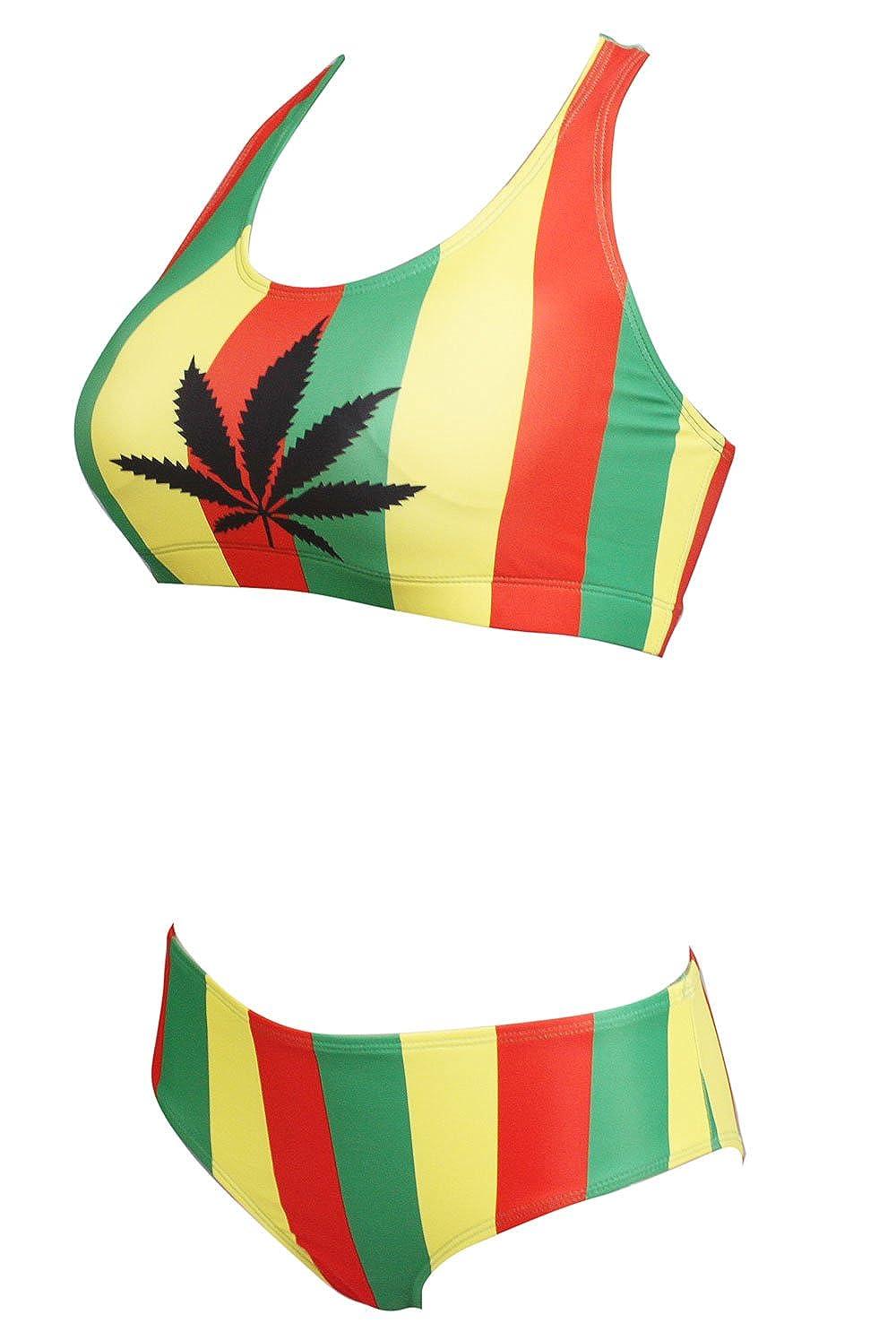 7f442eea0b6 Amazon.com: VOARYISA Women's Fashion Caribbean Jamaica Flag Sport Rasta Bikini  Swimsuit Swimwear: Clothing
