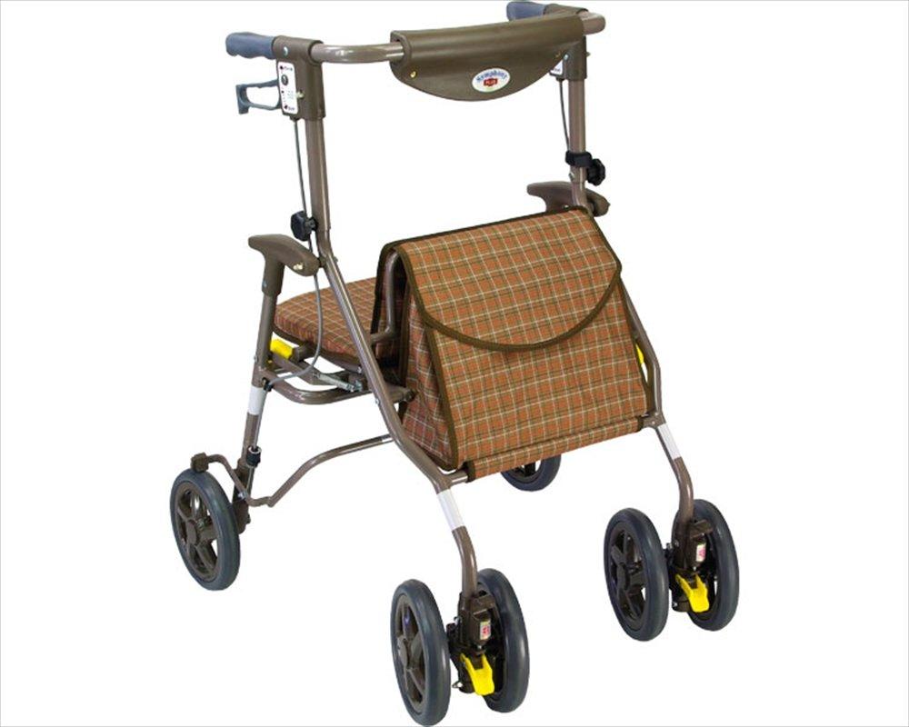 【非課税】島製作所 歩行車 シンフォニープラス80 チェックブラウン B008A1PZCO  チェックブラウン