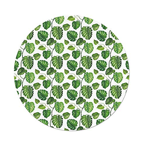 - Polyester Round Tablecloth,Leaf,Tropical Jungle Rainforest Leaves Palm Mango Tree Wild Leaves Art Print Decorative,Light Green and White,Dining Room Kitchen Picnic Table Cloth Cover,for Outdoor Indoo