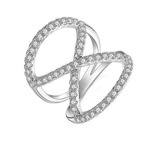 (personalizada anillo) Adisaer plateado anillos para las mujeres boda bandas grabado cruzado circonita