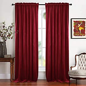 RYB HOME Kids Curtains Velvet - Nursery Room Darkening Curtains Smooth Velour Casual Texture Window Decor Soundproof Prevent Sunlight Draft for Bedroom Girl Gift, 52 x 96 inch, Ruby Red, 2 Panels