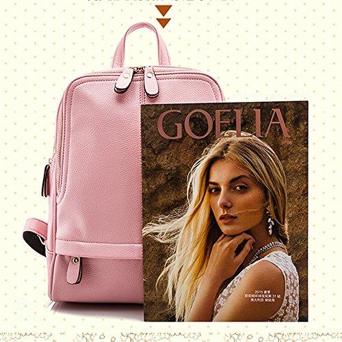 Anne - Bolso mochila  de Piel para mujer negro granate Rosa