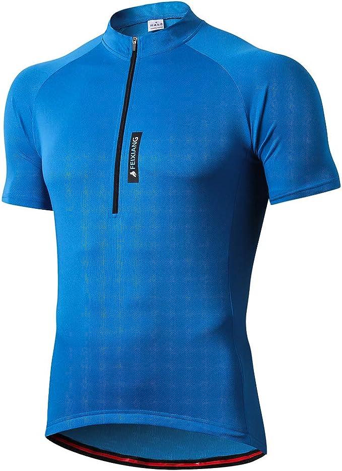 Maglietta Mountain Bike Uomo Asciugatura Veloce T-Shirt off-Road Sportswear Estate FEIXIANG Maglia Ciclismo Maniche Corte