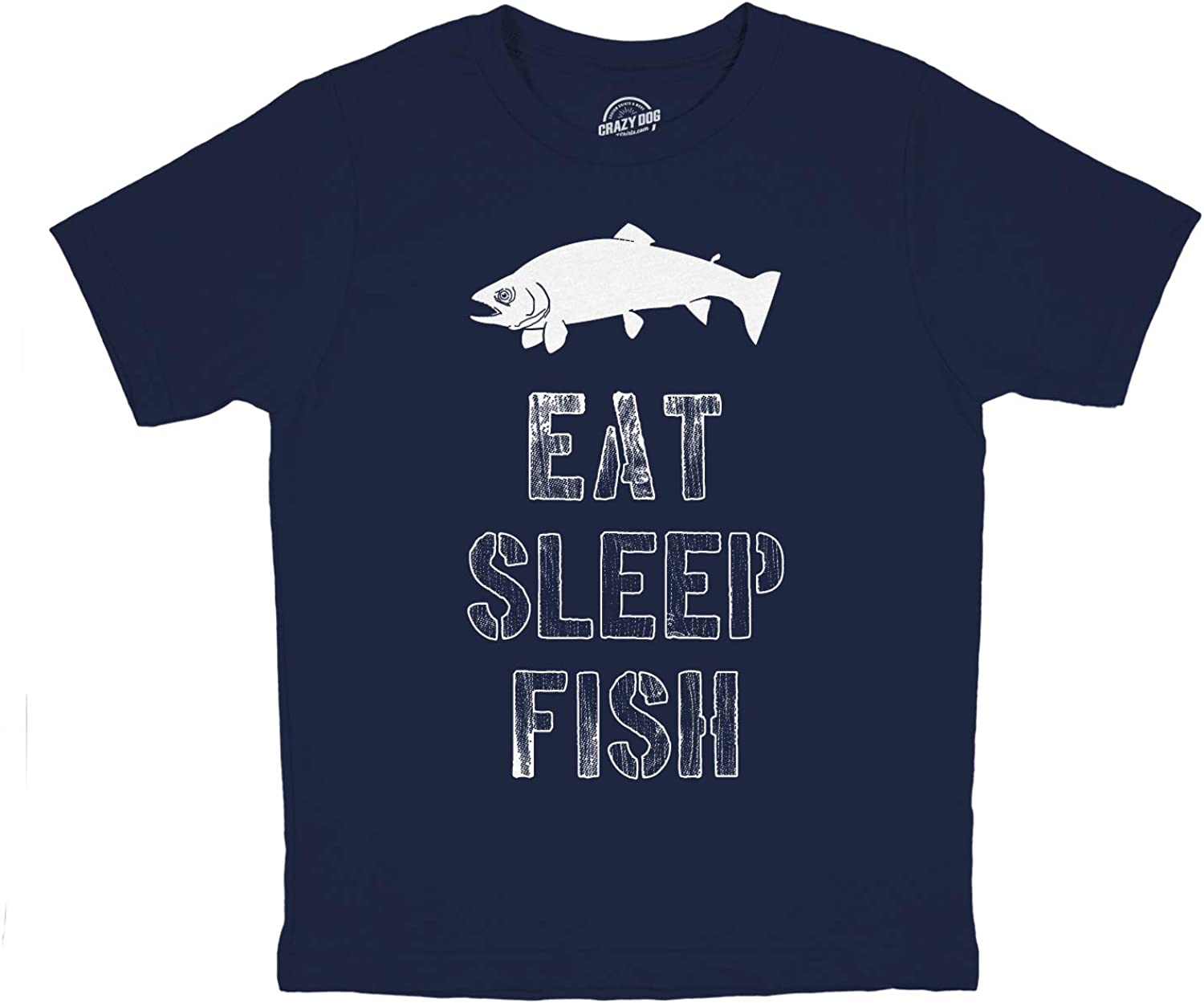 Youth Eat Sleep Fish T Shirt Funny Fishing Tee Cool Graphic Fun Crazy for Kids: Clothing