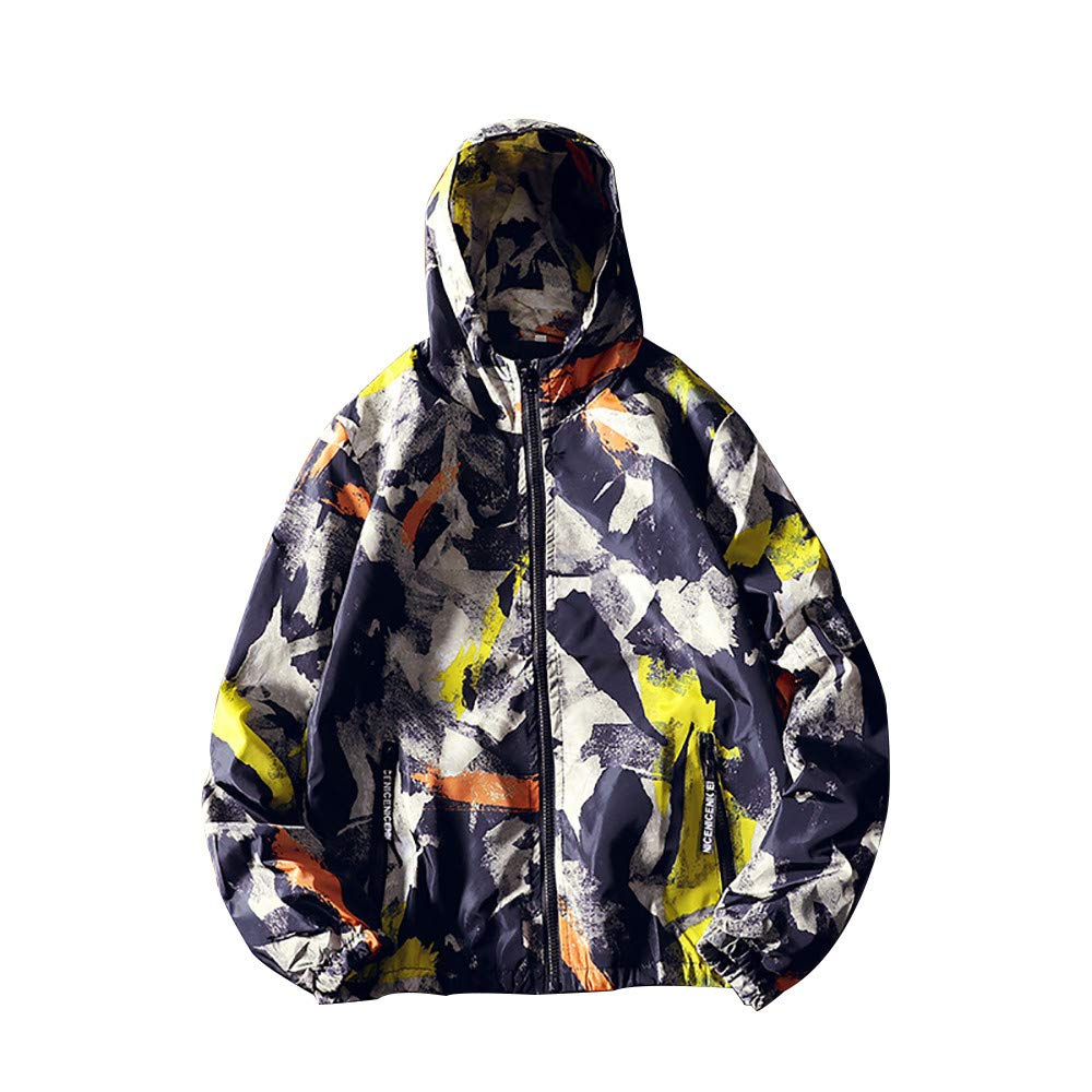 Pius Size Hoodies for Men, Corriee Fall Zip Camouflage Print Cool Hooded Jackets Mens Casual Long Sleeve Sport Coat