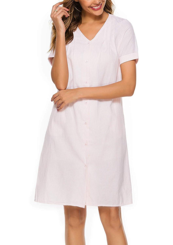 ABirdon Damen Nachthemd Kurzarm Knopfleiste Nachtw/äsche V-Ausschnitt Sleepshirt Nachtkleid Sommer
