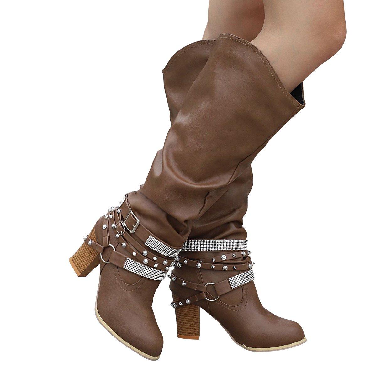 Amazon.com: SNIDEL - Botas de equitación para mujer con ...