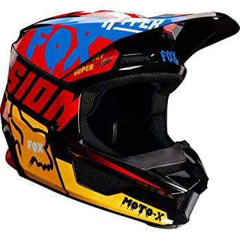 Fox Racing V1 Czar Mens Off-Road Motorcycle Helmet - Black/Yellow / X-Large