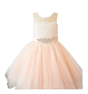97346a4c9 flowerry Light Champagne Lace Top Flower Girl Dress Tutu Tulle Toddle  Wedding Dress 2T