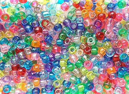 Ultimate Transparent Rainbow Multicolor Mix Plastic Craft Pony Beads, 6 x 9mm, 1000 ()