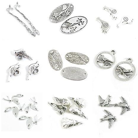 96bc139c410a 27 piezas de dijes de plata envejecida para hacer joyas