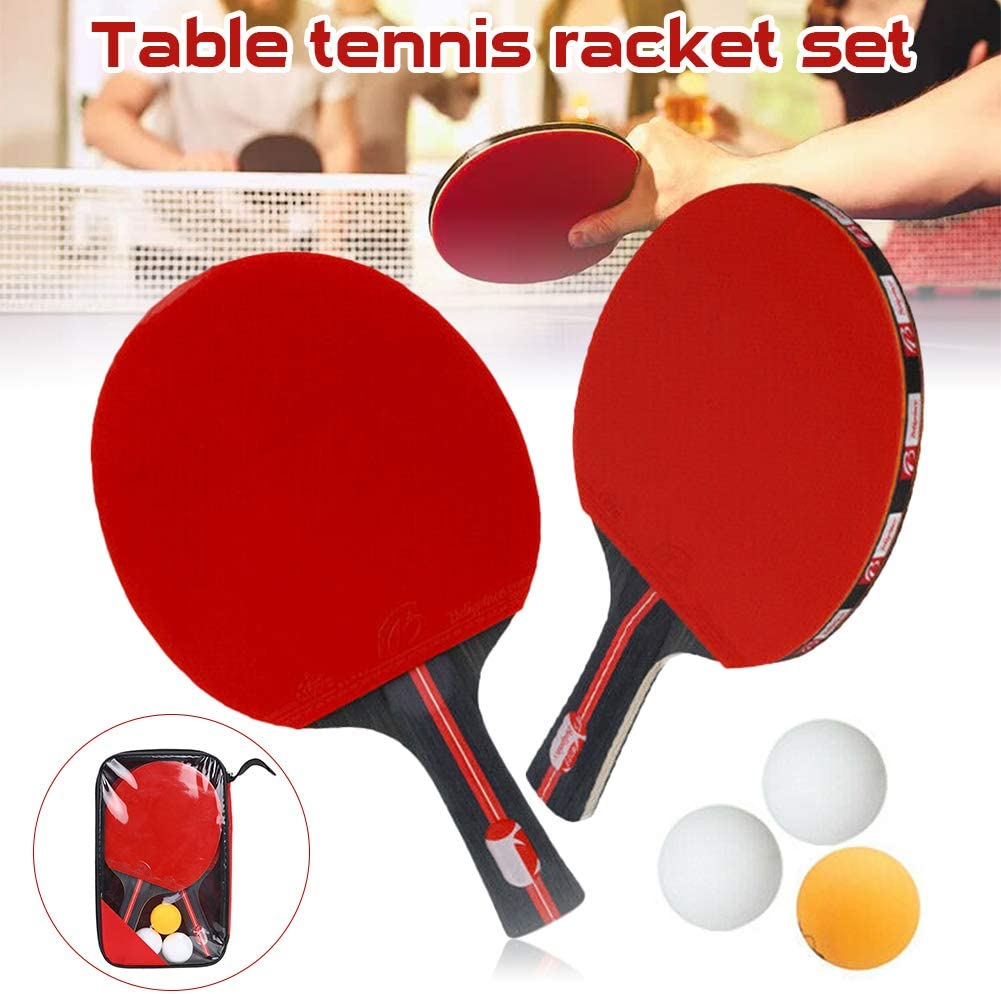 CviAn 1 par de Palas de Tenis de Mesa con 3 Bolas de Raqueta de Tenis de Mesa Juego de Raquetas de Tenis de Mesa de Alto Rendimiento Paleta Profesional de Ping Pong