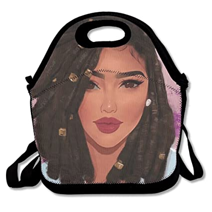 JUCHen Lunch Boxes African American Black Woman Girl Art Lunchbox Food  Container Lunch Tote Handbag Cool 04a2058bf375b
