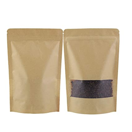 GooGou Resealable Kraft Paper Stand up Zipper Pouch Bags with Transparent Window Food Storage Bags Smell Proof Pouches 50pcs (3.9x5.9in)