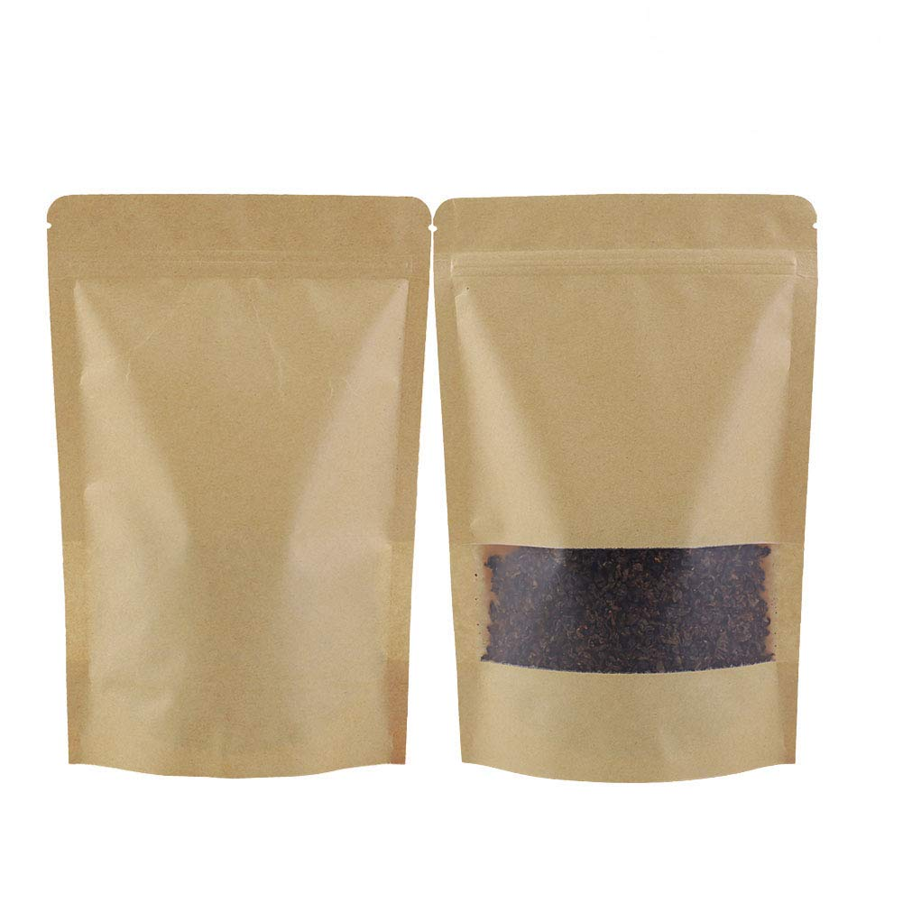 GooGou Resealable Kraft Paper Stand up Zipper Pouch Bags with Transparent Window Food Storage Bags Smell Proof Pouches 50pcs (5.5x7.8in)