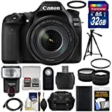 Canon EOS 80D Wi-Fi Digital SLR Camera & EF-S 18-135mm IS USM Lens with 32GB Card + Battery + Case + Filter + Tripod + Flash + Tele/Wide Lens Kit