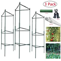 4ft 3-Pack Plant Cages Tomato Garden Cages Stakes Vegetable Trellis, Assembled w...