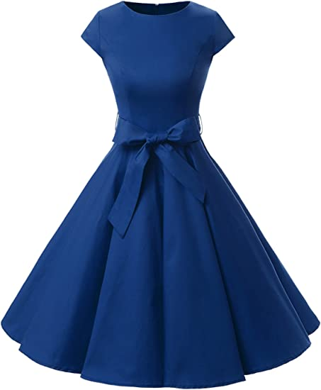 TALLA S. Dressystar Vintage 1950s Polka Dot and Solid Color Prom Dresses Cap-Sleeve Royal Blue
