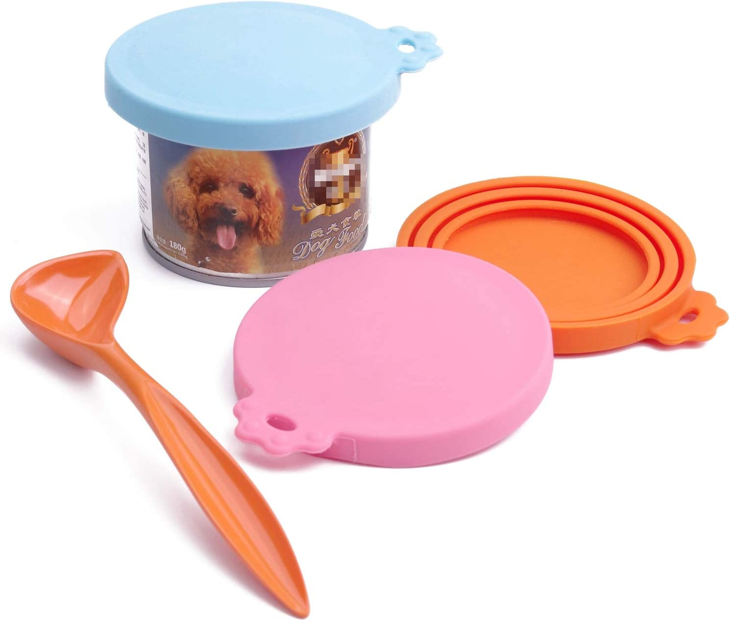 Super Design Can Covers Scoop Packaging,BPA Free Silicone Can Cover for Multiple Sizes with Melamine Food Scoop,for Dog and Cat, Small Scoop