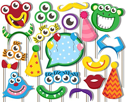 Mighty Monster Photo Booth Props Kit - 20 Pack Party Camera Props Fully Assembled (Monster Photo Booth Props)