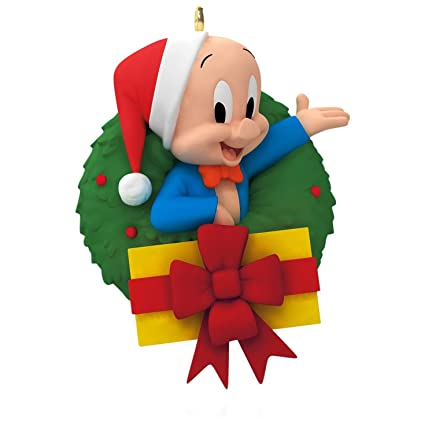 looney tunes merry christmas folks porky pig wreath ornament 2015 hallmark - Porky Pig Sings Blue Christmas