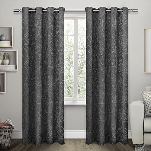 Exclusive Home Twig Insulated Woven Room Darkening Grommet Top Window Curtain Panels, Charcoal, Set of 2 / Panel Pair 2 - 54