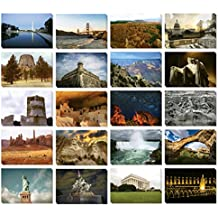 Set of 40 Assorted American Postcards - Variety Pack United States National Monument Postcards Theme Self Mailer Mailing Side Travel Postcards 20 Different Designs, 2 of Each, 40 Pack Postage Saver -