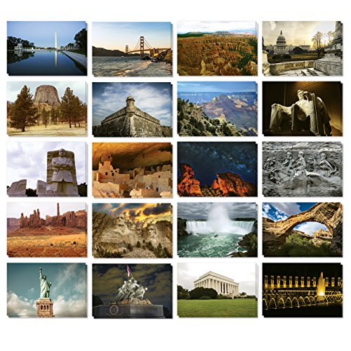 National Monument Postcard (Set of 40 Assorted American Postcards - Variety Pack United States National Monument Postcards Theme Self Mailer Mailing Side Travel Postcards 20 Different Designs, 2 of Each, 40 Pack Postage Saver -)