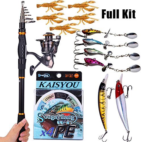 Sougayilang Fishing Rod Reel Combos Carbon Telescopic Fishing Rod Pole with Spinning Reel Line Lures Accessories Combo Sea Saltwater Freshwater Fishing Rod Kit (Rod+ Reel, 1.8M 5.91Ft Rod+WQ2000 Reel)