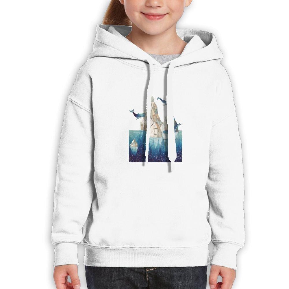 SmallHan Teen Girls Cartoon Whale Castle Fashion Travel White Fleeces S