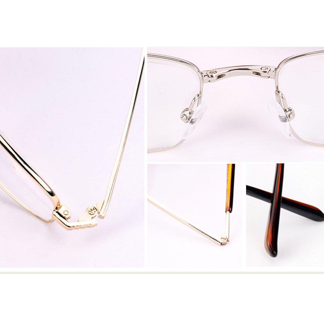 Monique Unisex Metal Frame Foldable Reading Glasses Travel Trip Clear Eyeglasses Eyewear Presbyopic Glasses 2.5
