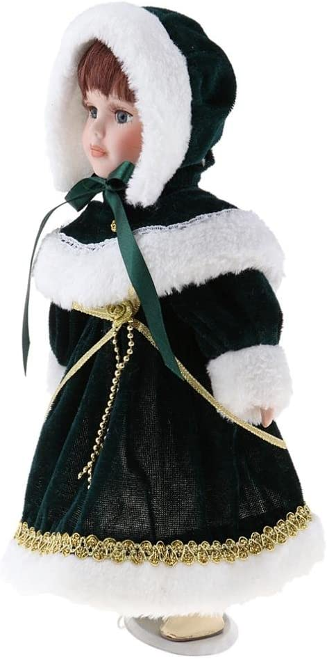 Juguete de Muñeca Chica de Porcelana de Vendimia con Ropa Dollhouse Miniature Accessories - Verde, 30cm