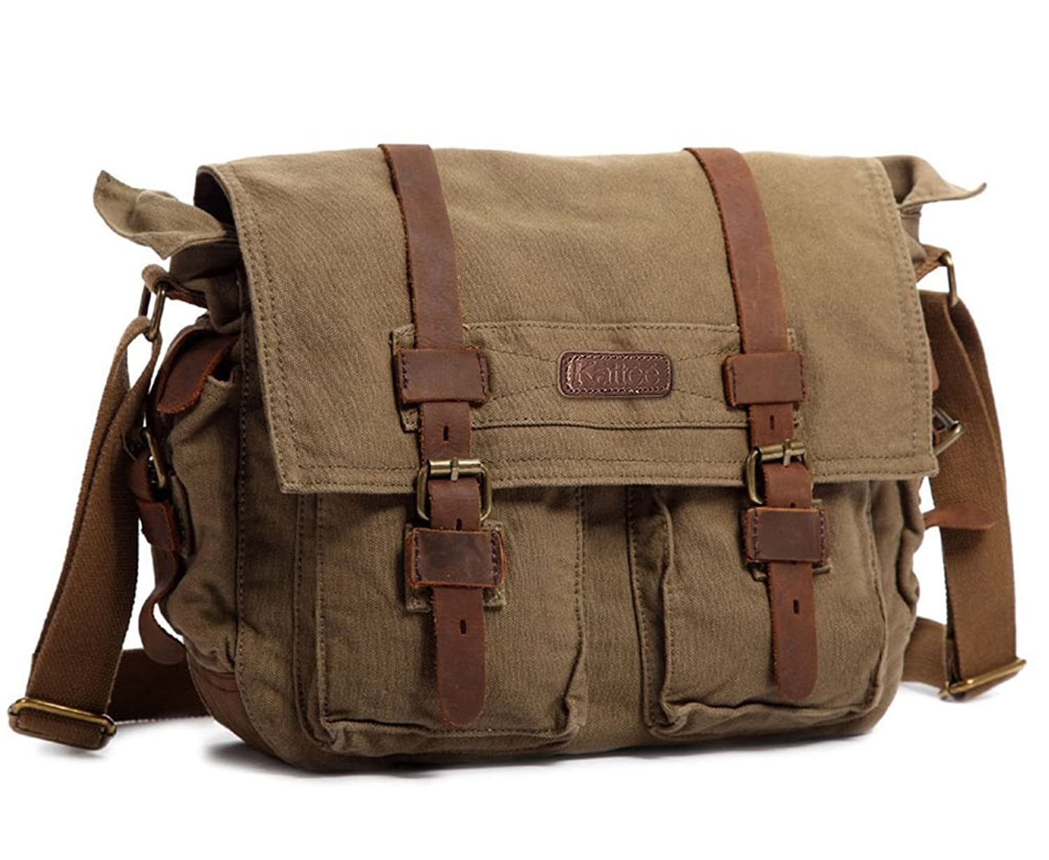Kattee Men s Vintage Canvas Leather Messenger Shoulder Bag Fits 15 Inch  Laptop (Army Green) fa3bf1131f3