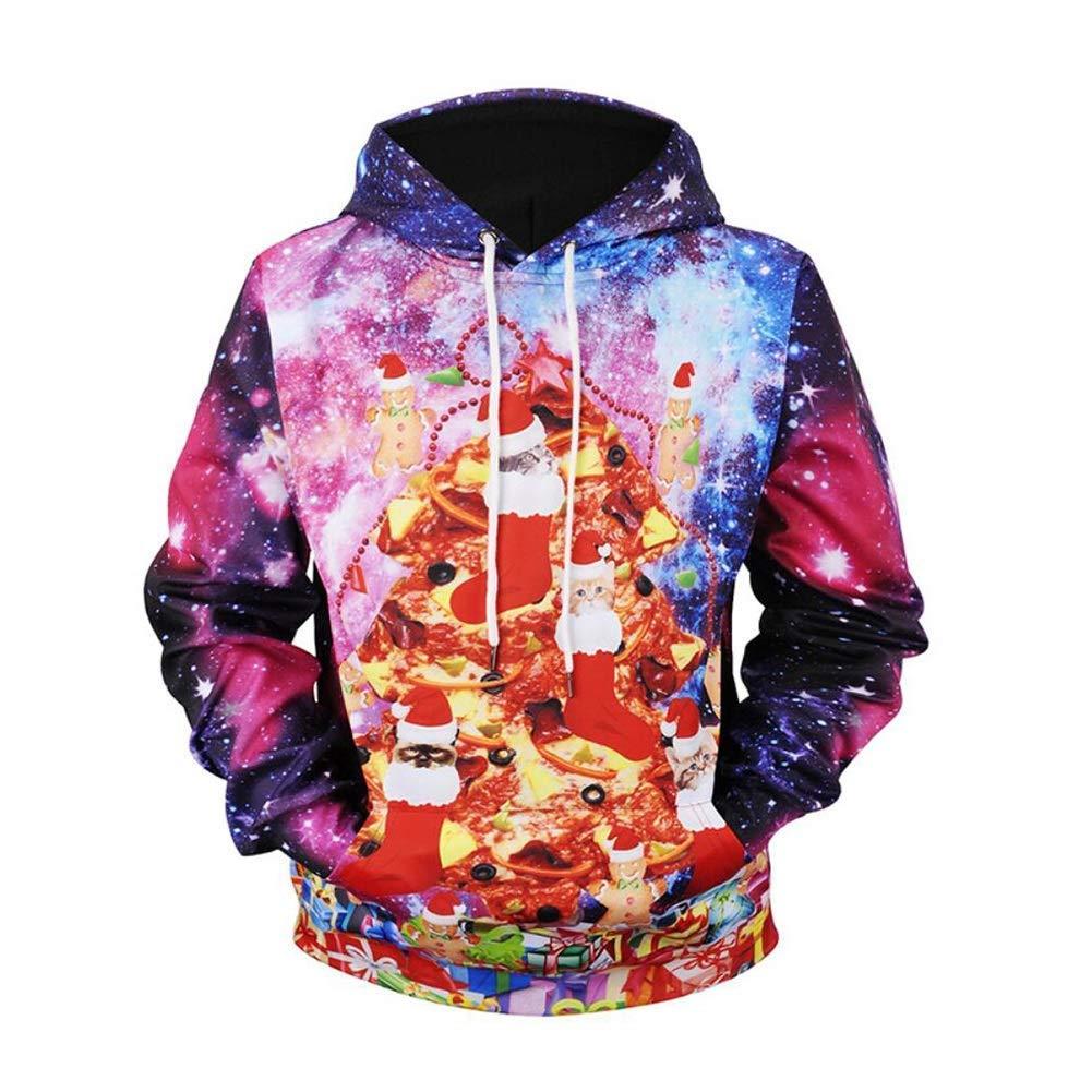 FuweiEncore Unisex Hoodie, süße Kätzchen Katzen 3D Weihnachten Hoodies Sweatshirt Herren Hoody Tops Urlaub Pullover Trainingsanzug (Farbe   1, Größe   XXL) (Farbe   1, Größe   XXXL)